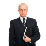 Serious business man with documents. Portrait of serious business man with documents. isolated on white background Royalty Free Stock Photos