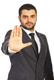 Serious business man showing stop hand Stock Photo