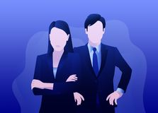 Serious business man and woman are standing stock illustration