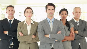 Serious business people looking at camera with arms crossed stock footage