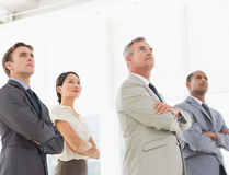 Serious business team with arms crossed looking up Royalty Free Stock Photo