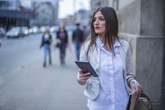 Serious business woman in the city Stock Image