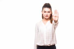 Serious business woman making stop hand sign Royalty Free Stock Image
