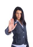 Serious business woman making stop sign Royalty Free Stock Photos