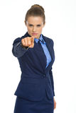 Serious business woman pointing in camera Royalty Free Stock Photos