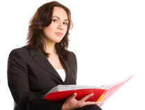 Serious business woman reading Royalty Free Stock Images