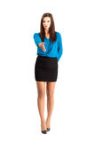 Serious business woman welcoming Stock Image