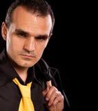 Serious businessman. Black clothing. Stock Photo