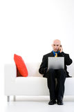 Serious Businessman on Call Royalty Free Stock Images