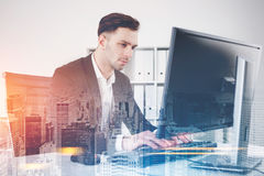 Serious businessman in a city office Stock Image