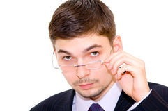 Serious businessman with eyeglasses Stock Image