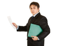 Serious businessman with folder exploring document Stock Photos