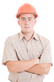 Serious businessman in helmet  Stock Image