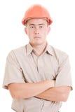 Serious businessman in helmet  Stock Image