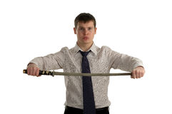 Serious businessman hold sword Stock Image