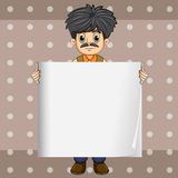 A serious businessman holding an empty signage. Illustration of a serious businessman holding an empty signage Royalty Free Stock Images