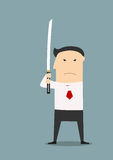 Serious businessman with katana sword Royalty Free Stock Photography