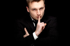 Serious businessman keeping silence Royalty Free Stock Photo
