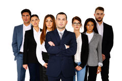 Serious businessman leading his team Royalty Free Stock Images