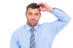 Serious businessman looking the camera Stock Images