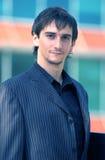 Serious Businessman Portrait Blue Tint Stock Images