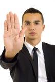 Serious businessman saying stop Stock Image