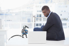 Serious businessman sitting on desk looking at laptop Stock Photos