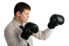 Serious businessman in sports boxing stance Royalty Free Stock Photo
