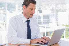 Serious businessman working on a laptop Royalty Free Stock Images