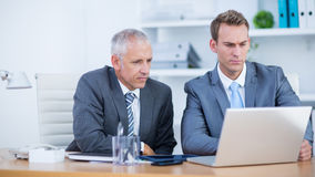 Serious businessmen working together on laptop Royalty Free Stock Photography