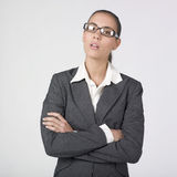 Serious businesswoman crossing arms. Portrait of a pretty businesswoman with crossed arms Stock Photography