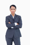 Serious businesswoman with folded arms Royalty Free Stock Photos