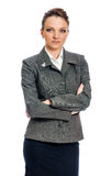 Serious Businesswoman in Gray suit Royalty Free Stock Photo