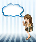 A serious businesswoman holding a binder with an empty cloud tem. Illustration of a serious businesswoman holding a binder with an empty cloud template on a Royalty Free Stock Photos