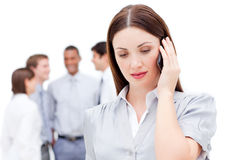 Serious businesswoman on phone Stock Images