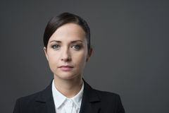 Serious businesswoman staring at camera Royalty Free Stock Photography