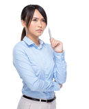 Serious businesswoman think of idea Royalty Free Stock Images