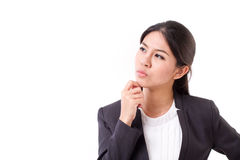 Serious businesswoman thinking. Looking away Royalty Free Stock Photography