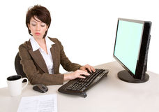 Serious Businesswoman Working at a Computer Stock Photography