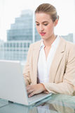 Serious businesswoman working on her laptop Royalty Free Stock Photos