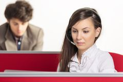 Serious call center employees Royalty Free Stock Photo