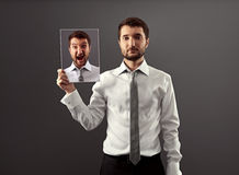 Calm man dont showing his indignation Royalty Free Stock Photos