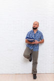Serious Casual Bearded Business Man Holding Folder Look To Copy Space Pondering Doubtful Stock Images
