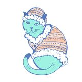Serious cat wearing a fur coat and hat. Bright hand drawn vector illustration Stock Illustration