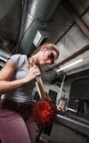 Female Glass Worker with Object Royalty Free Stock Images