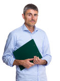 Serious caucasian old man holding clipboard Royalty Free Stock Images