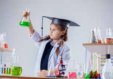 Serious chemist looking at reagent in flask Royalty Free Stock Photography