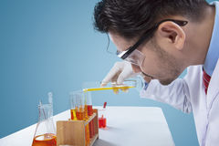 Serious chemist making science research Stock Photography