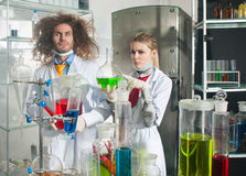 Serious chemists Stock Images