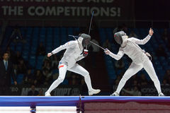 Serious clash on championship of world in fencing Stock Images